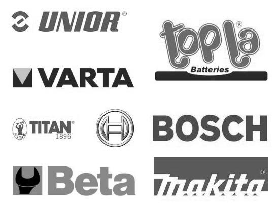 Varta,Topla,Makita,Bosch,Unior,Beta,Titan